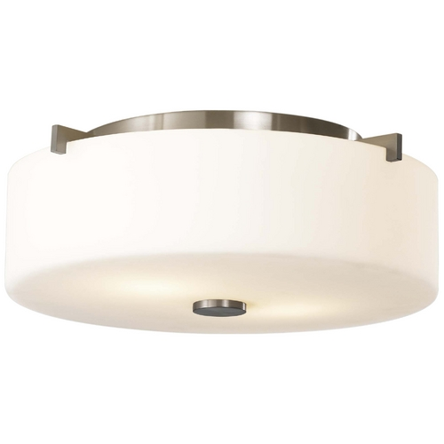 Feiss Lighting Modern Flushmount Light with White Glass in Brushed Steel Finish FM313BS