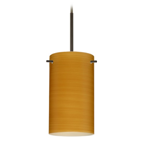 Besa Lighting Besa Lighting Stilo Bronze Mini-Pendant Light with Cylindrical Shade 1BT-4404OK-BR