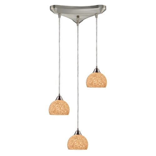 Elk Lighting Modern Multi-Light Pendant Light with Grey Glass and 3-Lights 10143/3PW