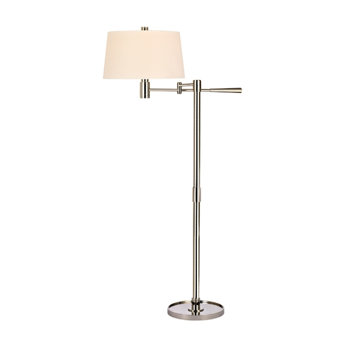 Hudson Valley Lighting Modern Swing Arm Lamp with Beige / Cream Paper Shade in Polished Nickel Finish L526-PN