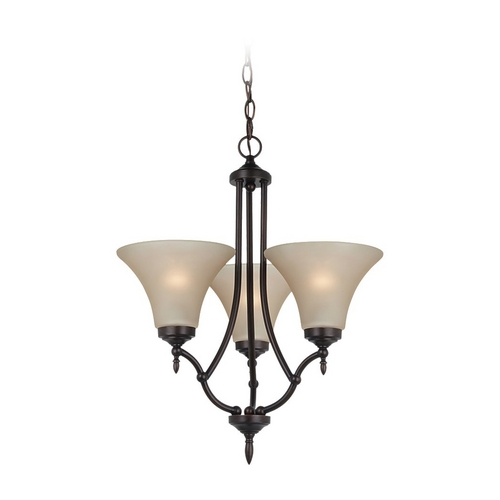 Sea Gull Lighting Mini-Chandelier with Beige / Cream Glass in Burnt Sienna Finish 31180-710