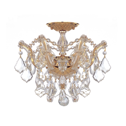Crystorama Lighting Crystal Semi-Flushmount Light in Polished Gold Finish 4430-GD-CL-SAQ