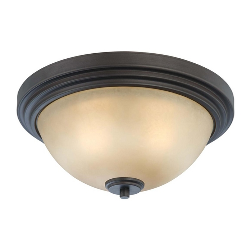 Nuvo Lighting Modern Flushmount Light with Beige / Cream Glass in Dark Chocolate Bronze Finish 60/4131