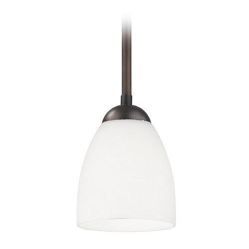 Design Classics Lighting Bronze Mini-Pendant Light with Satin White Bell Glass Shade 581-220 GL1028MB