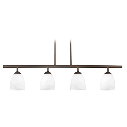 Design Classics Lighting Modern Island Light with White Glass in Bronze Finish 718-220 GL1028MB