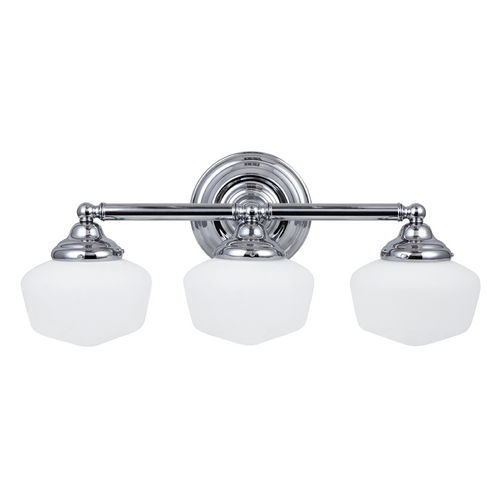 Sea Gull Lighting Schoolhouse Bathroom Light with White Glass in Chrome Finish 44438BLE-05