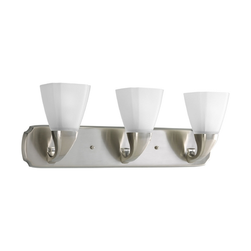 Progress Lighting Progress Bathroom Light with White Glass in Brushed Nickel Finish P2848-09