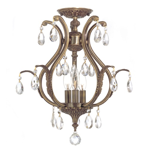 Crystorama Lighting Crystorama Lighting Dawson Antique Brass Semi-Flushmount Light 5560-AB-CL-MWP_CEILING