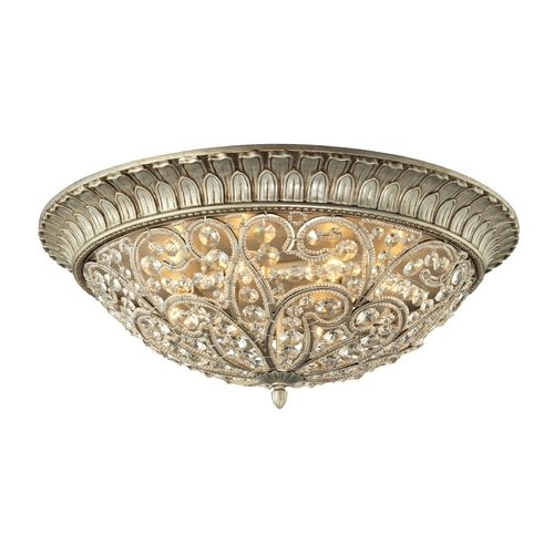 Elk Lighting Crystal Flushmount Light in Aged Silver Finish 11695/8