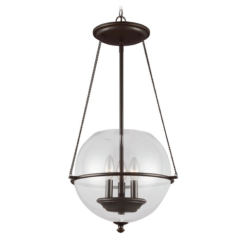 Sea Gull Lighting Sea Gull Lighting Havenwood Autumn Bronze Pendant Light with Globe Shade 6511903-715