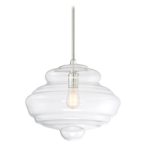 Nuvo Lighting Satco Lighting Storrier Polished Nickel Pendant Light with Bowl / Dome Shade 60/6769