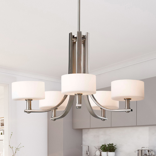 Sea Gull Lighting Sea Gull Modern 5-Light Chandelier with White Glass in Brushed Steel F2405/5BS