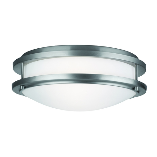 Philips Lighting Modern Flushmount Light with White Glass in Satin Nickel Finish F245636U