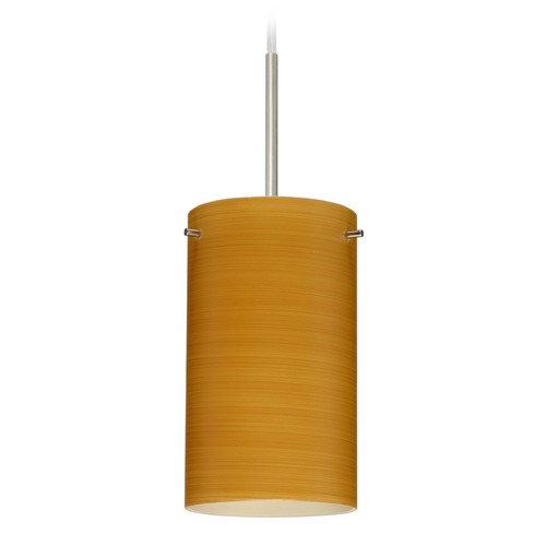 Besa Lighting Besa Lighting Stilo Satin Nickel Mini-Pendant Light with Cylindrical Shade 1BT-4404OK-SN