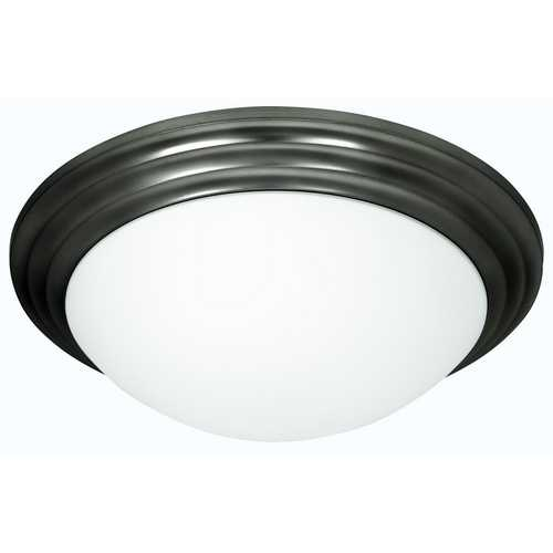 Access Lighting Modern Flushmount Light with White Glass in Oil Rubbed Bronze Finish 20652-ORB/OPL