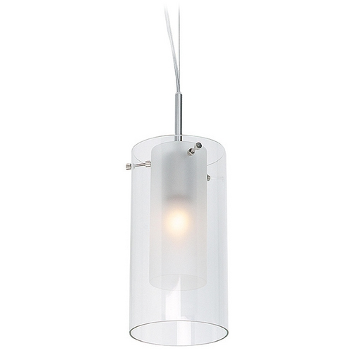 Access Lighting Modern Mini-Pendant Light with White Glass 50514-BS/FRC