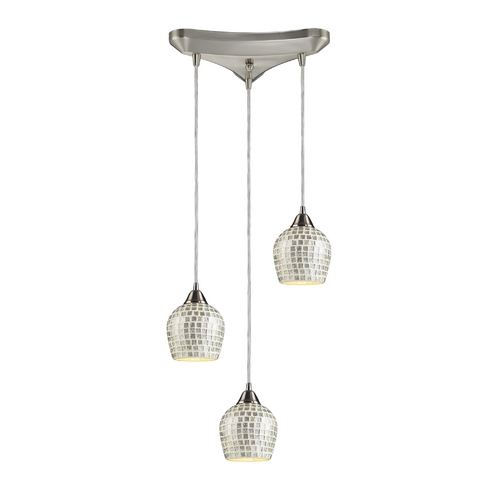 Elk Lighting Modern Multi-Light Pendant Light with Grey Glass and 3-Lights 528-3SLV