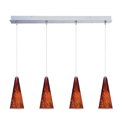 ET2 Lighting Modern Low Voltage Multi-Light Pendant Light with Amber Glass and 4-Lights E94929-102SN