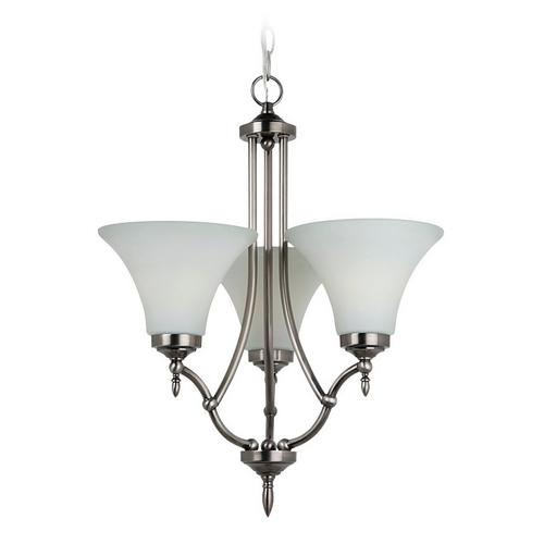Sea Gull Lighting Mini-Chandelier with White Glass in Antique Brushed Nickel Finish 31180-965