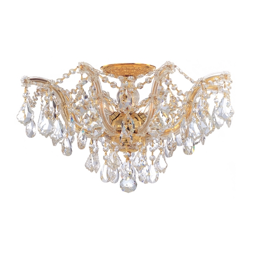 Crystorama Lighting Crystal Semi-Flushmount Light in Polished Gold Finish 4437-GD-CL-MWP