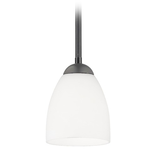 Design Classics Lighting Modern Mini-Pendant Light with Satin White Bell Glass Shade 581-07  GL1028MB
