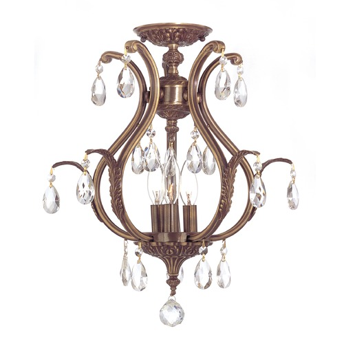 Crystorama Lighting Crystorama Lighting Dawson Antique Brass Semi-Flushmount Light 5560-AB-CL-S_CEILING