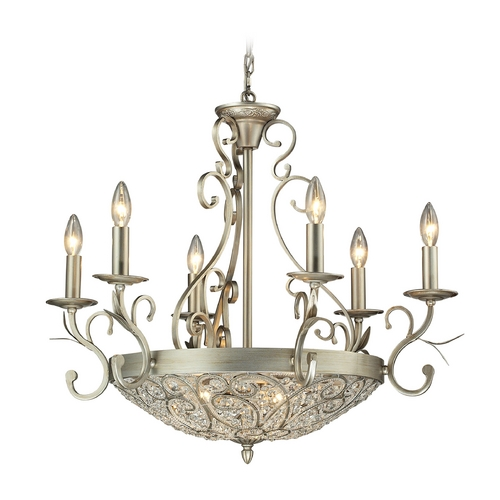 Elk Lighting Crystal Chandelier in Aged Silver Finish 11696/6+3