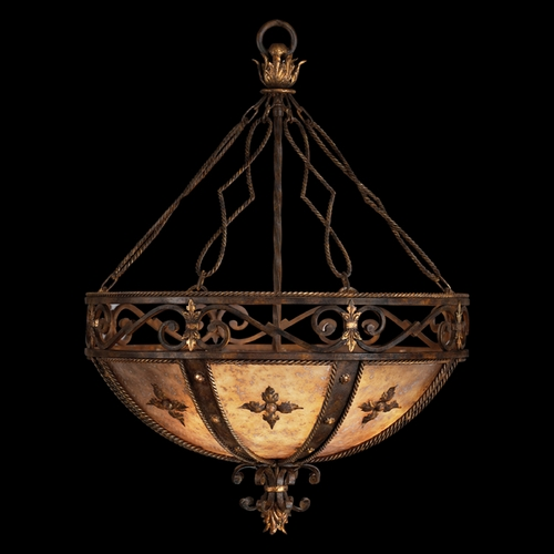 Fine Art Lamps Fine Art Lamps Castile Antiqued Iron with Gold Leaf Pendant Light 218142ST