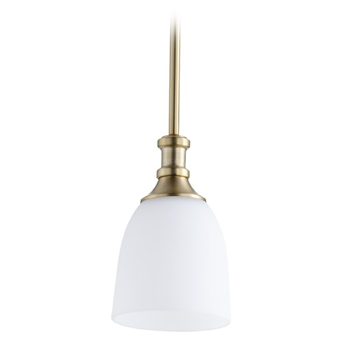 Quorum Lighting Quorum Lighting Richmond Aged Brass Mini-Pendant Light with Bowl / Dome Shade 3811-80