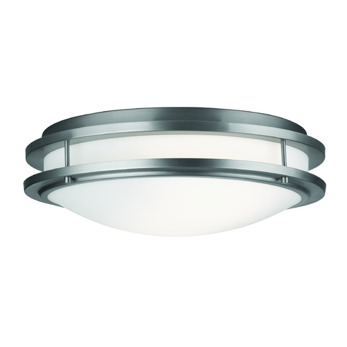 Philips Lighting Modern Flushmount Light with White Glass in Satin Nickel Finish F245736U
