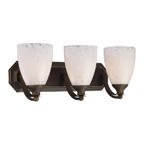 Elk Lighting Bathroom Light with Art Glass in Aged Bronze Finish 570-3B-SW