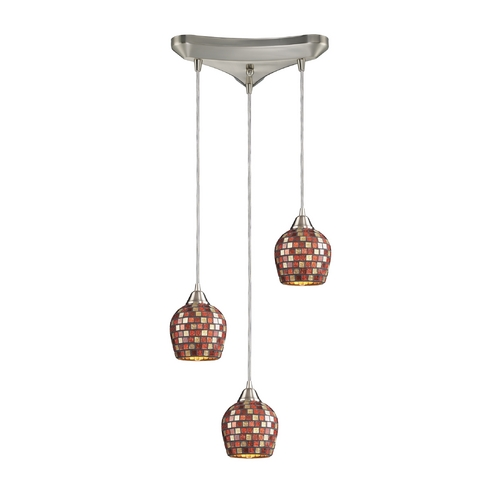 Elk Lighting Modern Multi-Light Pendant Light with Multi-Color Glass and 3-Lights 528-3MLT