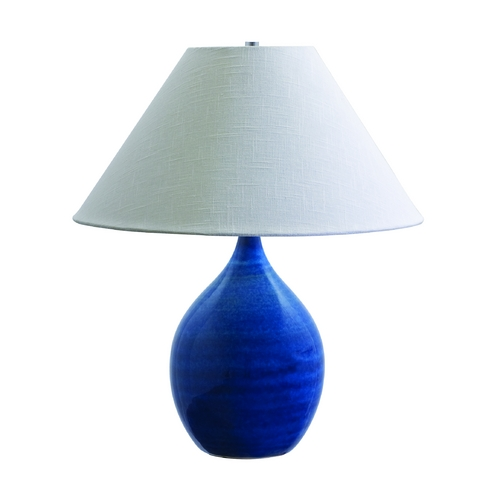 House of Troy Lighting Table Lamp with White Shade in Blue Gloss Finish GS300-BG