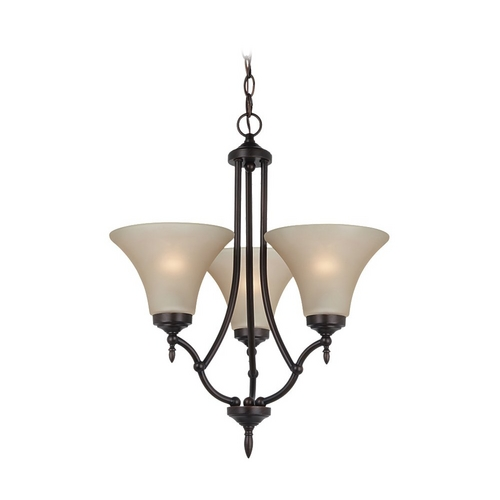 Sea Gull Lighting Mini-Chandelier with Beige / Cream Glass in Burnt Sienna Finish 31180BLE-710