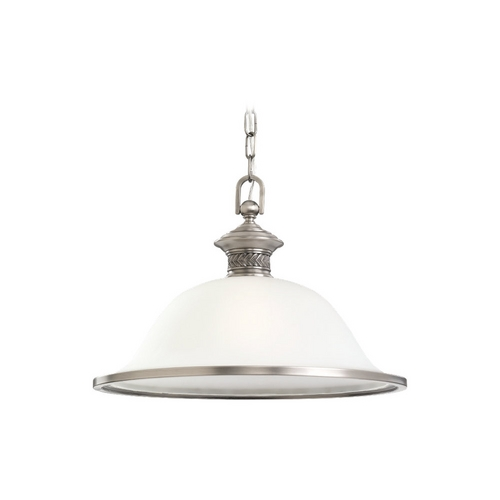 Sea Gull Lighting Pendant Light with White Glass in Antique Brushed Nickel Finish 65350-965