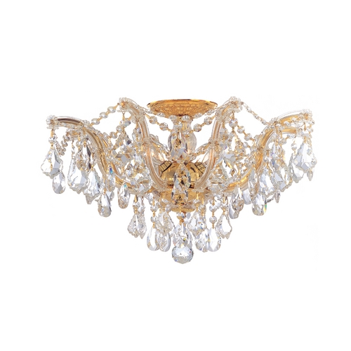 Crystorama Lighting Crystal Semi-Flushmount Light in Polished Gold Finish 4437-GD-CL-S