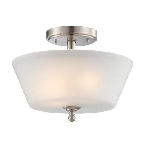Nuvo Lighting Modern Semi-Flushmount Light with White Glass in Brushed Nickel Finish 60/4151