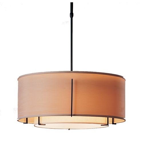 Hubbardton Forge Lighting Iron Pendant Light with Double Drum Shades 139605-10AABB
