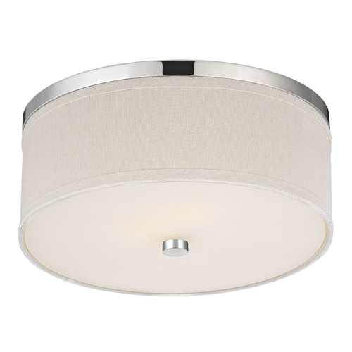 Design Classics Lighting Polished Chrome Ceiling Light with Cream Drum Shade 5551-26 SH9460