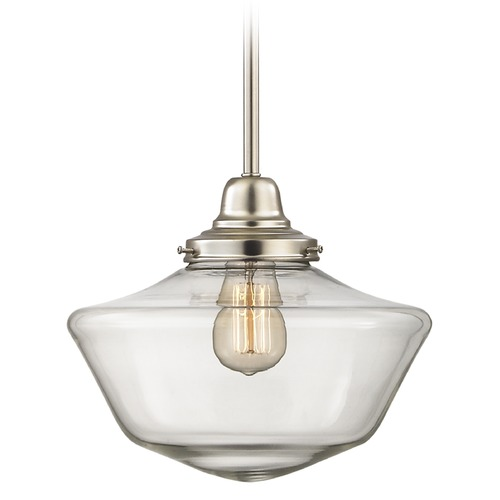 Design Classics Lighting 12-Inch Clear Glass Schoolhouse Pendant Light in Satin Nickel Finish FB4-09 / GA12-CL