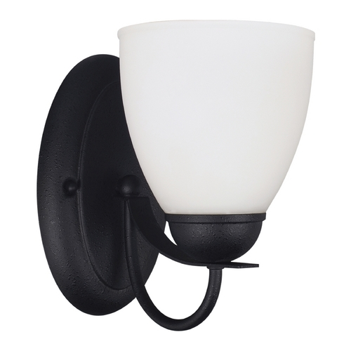 Sea Gull Lighting Sconce Wall Light with White Glass in Blacksmith Finish 44470-839