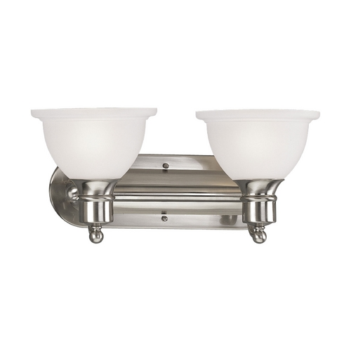 Progress Lighting Progress Bathroom Light with White Glass in Brushed Nickel Finish P3162-09