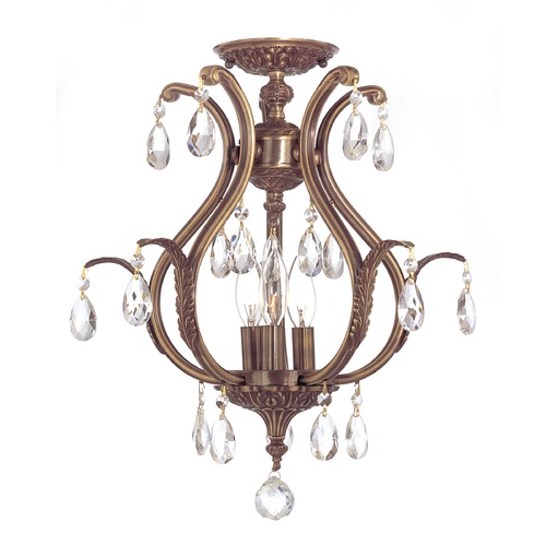 Crystorama Lighting Crystorama Lighting Dawson Antique Brass Semi-Flushmount Light 5560-AB-CL-SAQ_CEILING