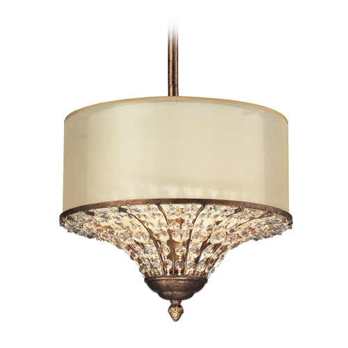 Elk Lighting Drum Pendant Light with Beige / Cream Shades in Spanish Bronze Finish 11700/3