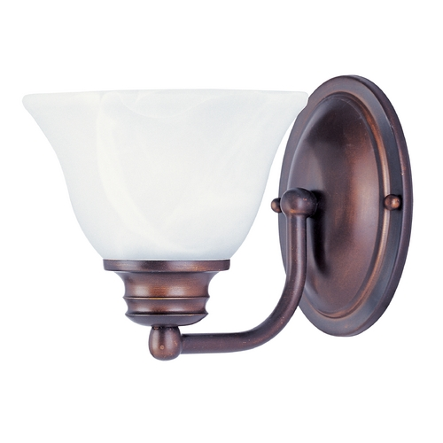 Maxim Lighting Sconce Wall Light with Alabaster Glass Shade in Oil Rubbed Bronze Finish 2686MROI