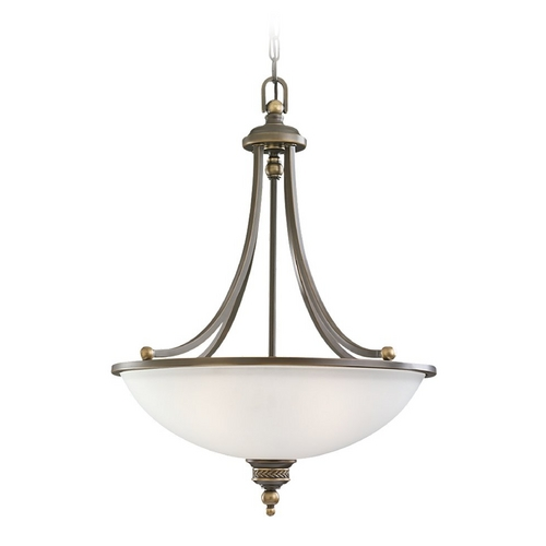 Sea Gull Lighting Pendant Light with White Glass in Estate Bronze Finish 65351-708