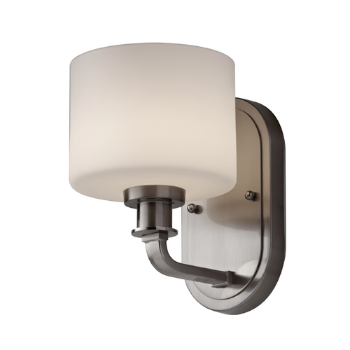 Feiss Lighting Sconce with White Glass in Brushed Steel Finish VS29001-BS