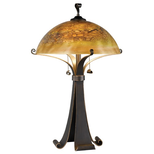 Kenroy Home Lighting Modern Table Lamp with Iridescent Glass in Chocolate Caramel Finish 20085CHC