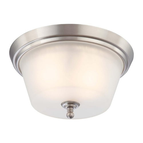 Nuvo Lighting Modern Flushmount Light with White Glass in Brushed Nickel Finish 60/4152