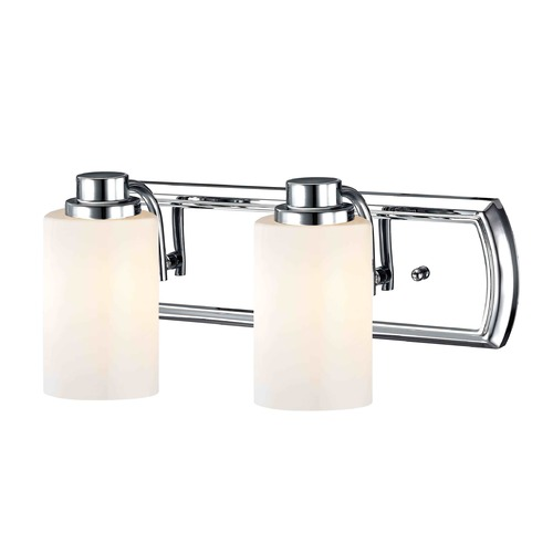 Design Classics Lighting 2-Light Bathroom Light in Chrome and Shiny Opal Glass 1202-26 GL1024C